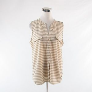 Calvin Klein beige sleeveless blouse L